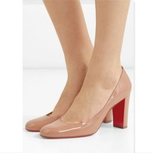 New CHRISTIAN LOUBOUTIN Nude Chunk Heel Pumps 39.5